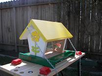 Bird feeder finished, painted, and decorated