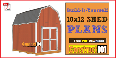 10x12 shed plans, gambrel , barn style shed.