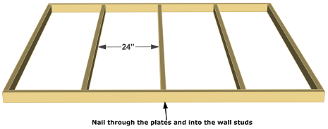Frame the side wall. Layout the bottom and top 2x4 by 8 feet plate ...